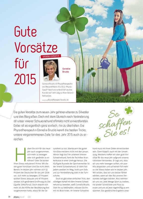 2015 Gute Vorsaetze physiogesund PhysioVital Physiotherapie Frankfurt